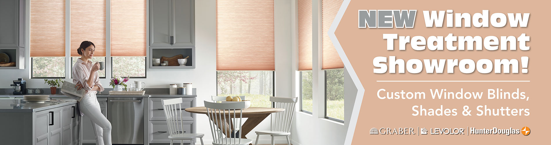 New window treatment showroom with custom window blinds, shades and shutters.